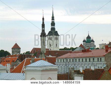 Skyline and Rooftop View with Tallinn Town Hall and St. Nicolas Church, Tallinn, Estonia