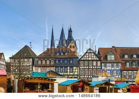 View of historic half-timbered houses with Christmas market in Gelnhausen Germany