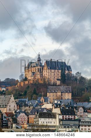 View of Marburg with castle on the hill Germany