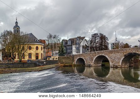 view of Lahn river with bridge and church in Wetzlar Germany