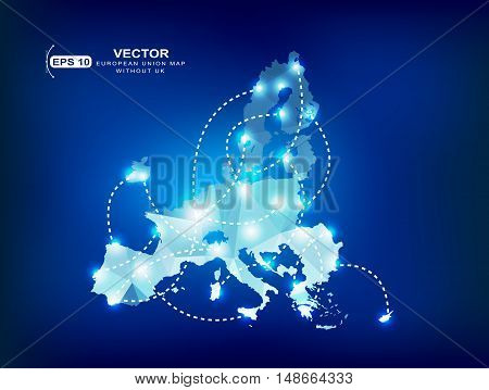 A European Union without the United Kingdom.European Union map polygonal with spot lights places