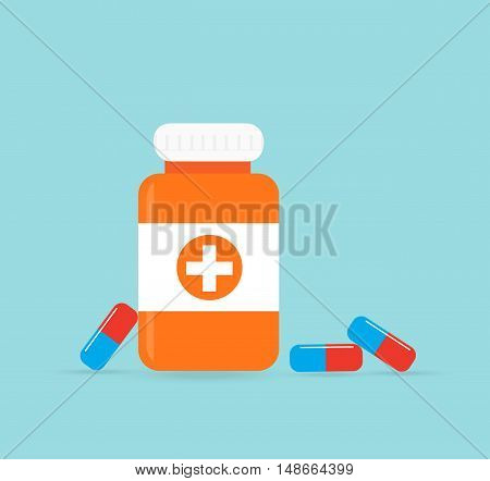 Bottle with medical pills icon tablets.Useful for medical pharmacy prescription