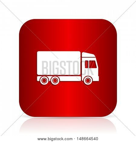 delivery red square modern design icon