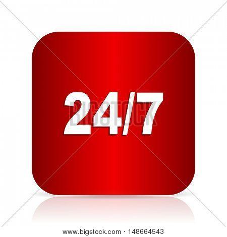 24/7 red square modern design icon