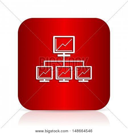 network red square modern design icon