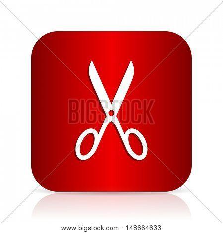 scissors red square modern design icon