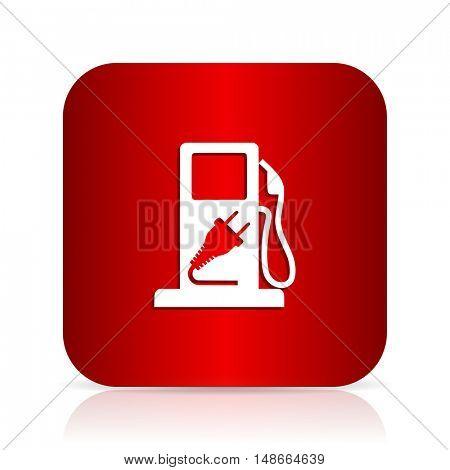 fuel red square modern design icon