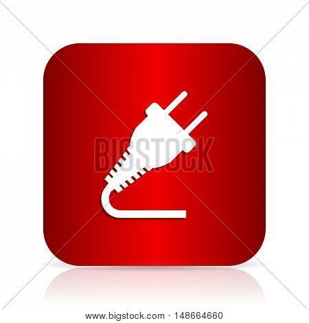 plug red square modern design icon