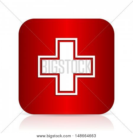 pharmacy red square modern design icon