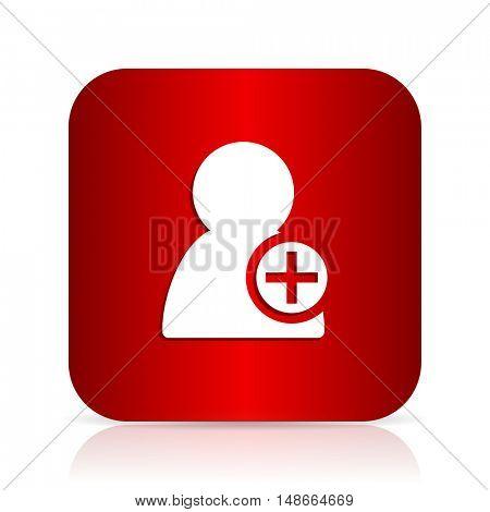 add contact red square modern design icon
