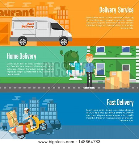 Delivery boy on scooter with cardboard boxes, postman with parcels near house, white delivery truck on cityscape. Food and home delivery service horizontal banners, vector illustration