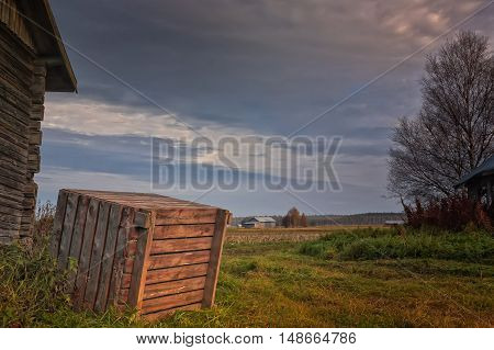 Wooden Crate By The Barn