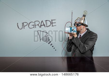Upgrade text with vintage businessman kissing machine