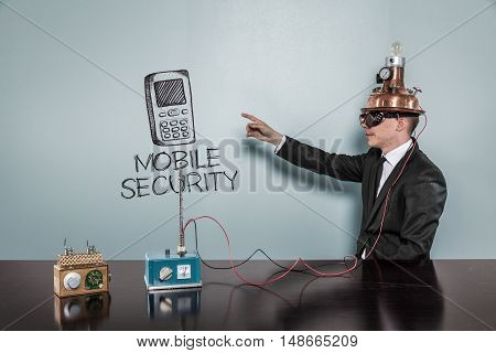Mobile Security concept with vintage businessman pointing hand