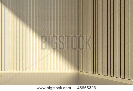 wooden wall and clean floor in modern empty room. 3d interior render.