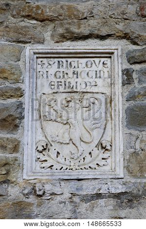 detail of the facade of the Basilica of the Holy Cross, Florence, Italy