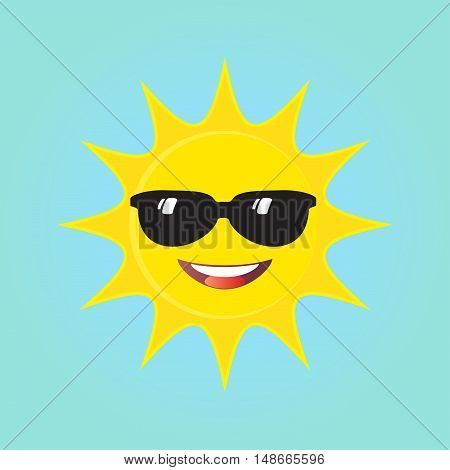 A smiling sun with black glasses summer illustration. Happy Sun smiling isolated on blue background. Vector background. Sunny day.