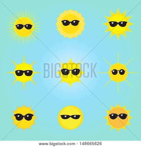 Summer Sun face with black glasses pattern. Set of different Sun with protective glasses isolated on blue sky background. Cute sun vector illustration.