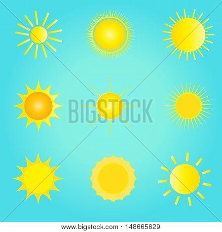 Sun icon set. Sun pattern. Different sun icon on vintage blue sky background. Vector illustration. Sun pattern.