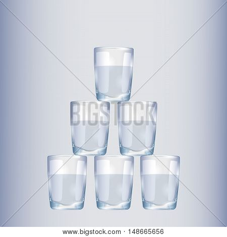 Empty drinking glass cup. Transparent glass on the white background