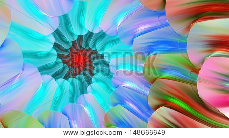 Bright colored stained glass with spirals. 3D surreal illustration. Sacred geometry. Mysterious psychedelic relaxation pattern. Fractal abstract texture. Digital artwork graphic astrology magic
