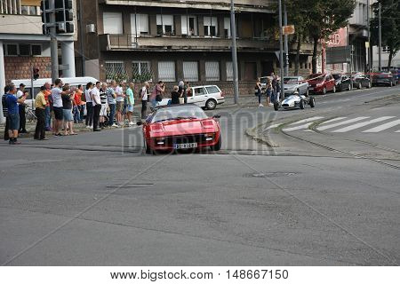 BELGRADE,SERBIA - SEPTEMBER 10, 2016: Ferrari as safety car at the commercial race of old cars in memory of formula 1 race held on the same place in 1939 two days after the beginning of Second World War when the famous Italian driver Tazio Nuvolari won