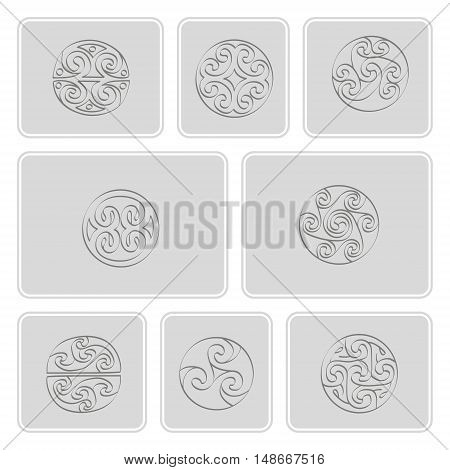 Set of monochrome icons with irish geometric ornament for your design