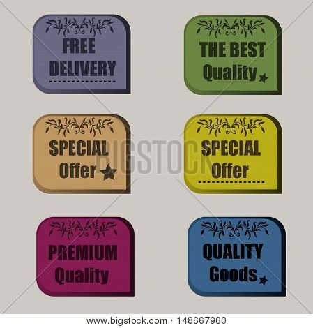 High quality original set of sale signs, special offer, premium quality, free delivery