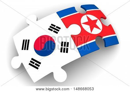 Cooperation South Korea and North Korea. Puzzles with flags of the South Korea and Democratic People's Republic of Korea on a white surface. The concept of coincidence of interests in geopolitics. Isolated. 3D Illustration