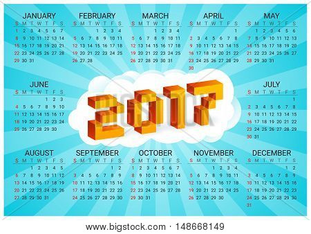 2017 calendar on a blue background in style of old 8-bit video games. Week starts from Sunday. Vibrant colorful 3D Pixel Letters. Retro arcade. Holiday vector horizontal illustration.