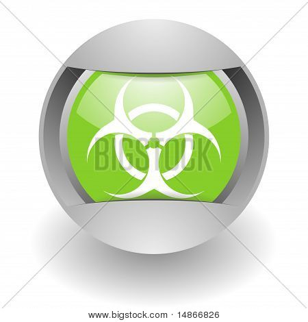 biohazard steel green glosssy icon