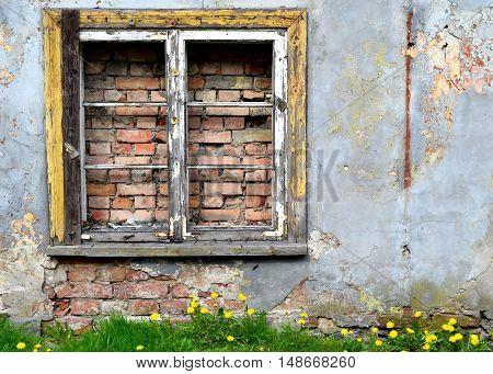 Window with bricks. Closed window with bricks.