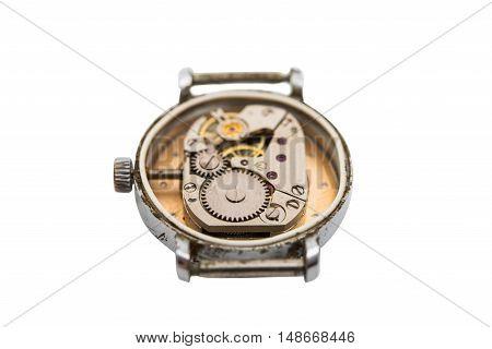 old clock mechanism clockwork on white background
