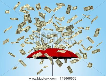 Umbrella and yen bills 3D money falling