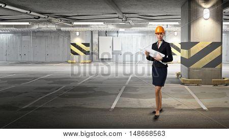 Woman designer in interior . Mixed media