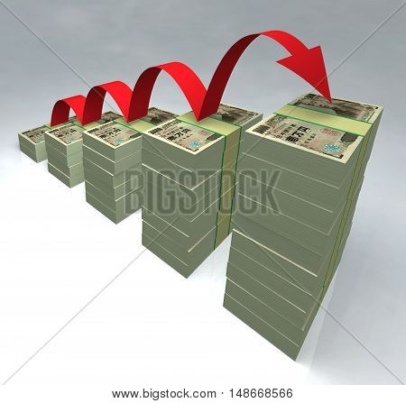 Stacked yen bills 3D money cash piled rise financial