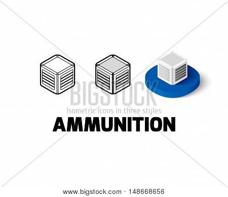Ammunition icon, vector symbol in flat, outline and isometric style