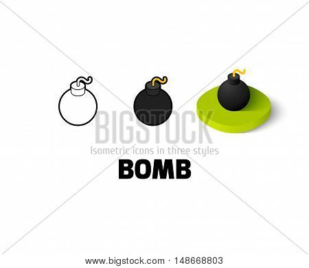 Bomb icon, vector symbol in flat, outline and isometric style