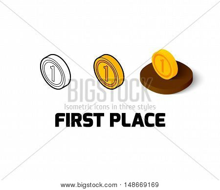 First place icon, vector symbol in flat, outline and isometric style