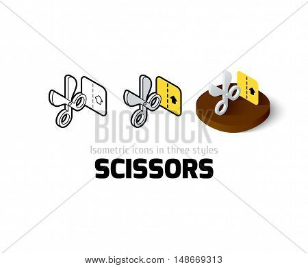 Scissors icon, vector symbol in flat, outline and isometric style