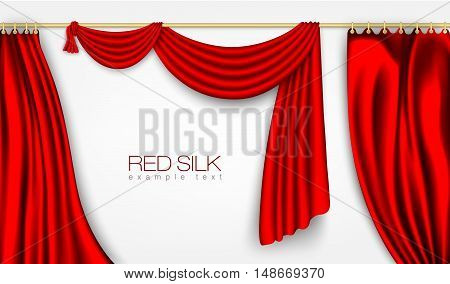 silk curtains red colors isolated on white background