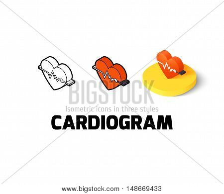 Cardiogram icon, vector symbol in flat, outline and isometric style