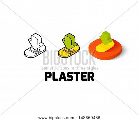 Plaster icon, vector symbol in flat, outline and isometric style