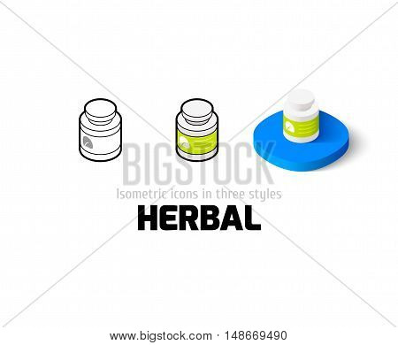 Herbal icon, vector symbol in flat, outline and isometric style