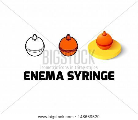 Enema syringe icon, vector symbol in flat, outline and isometric style