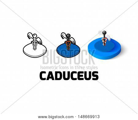Caduceus icon, vector symbol in flat, outline and isometric style