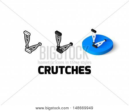 Crutches icon, vector symbol in flat, outline and isometric style