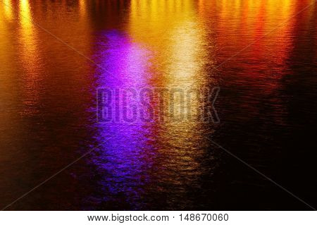 blur colorflul light reflection in water in night city background