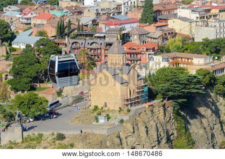 Cableway, cable car funicular on narikala fortress Tbilisi Georgia