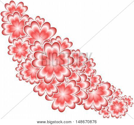 red abstract background full of flowers suitable as a container or greeting